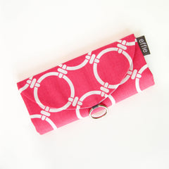 travel jewelry organizer roll clutch modern fuchsia pink and white circles trellis print with grey interior by effie handmade