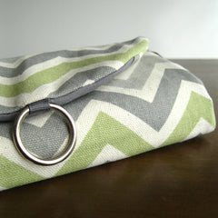 travel jewelry organizer roll clutch handmade modern chevron zigzag grey gray green