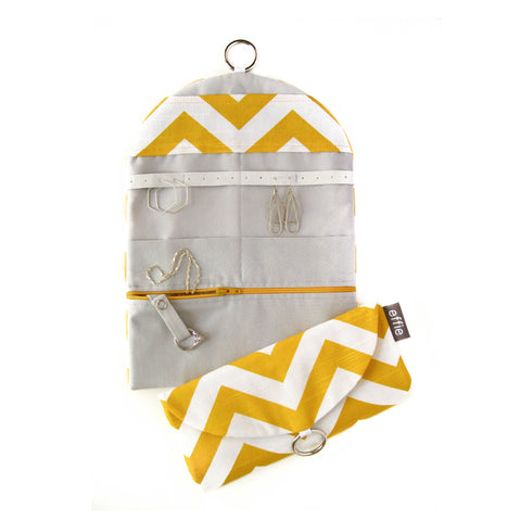 Travel Jewelry Case - Yellow and White Chevron