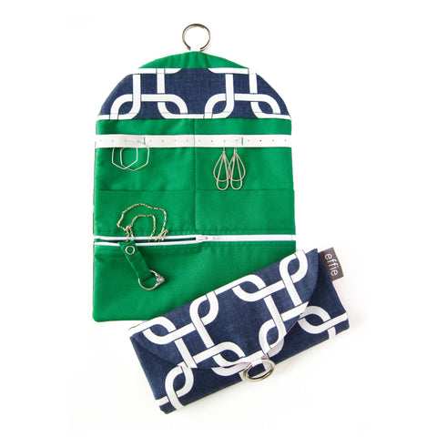 Travel Jewelry Organizer - Modern Links in Navy and White with Grass Green
