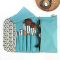 travel gift set - 3 Piece Travel Gift Set - Charcoal Scallop with Teal - effie handmade