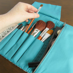 travel makeup bag - Travel Organizer Makeup Case - Charcoal Scallop with Teal - effie handmade