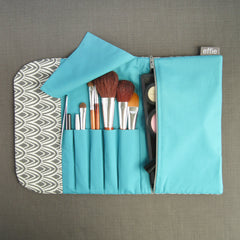 Travel Organizer Makeup Case - Charcoal Scallop with Teal