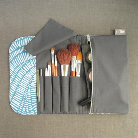 All-in-One Brush Roll & Makeup Bag - Teal