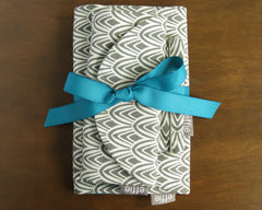 3 Piece Travel Gift Set - Charcoal Scallop with Teal