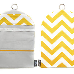 travel jewelry organizer roll clutch handmade modern corn yellow white chevron zigzag print with grey lining