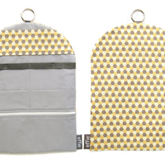 travel jewelry organizer roll clutch handmade modern confetti hexagons yellow grey cream