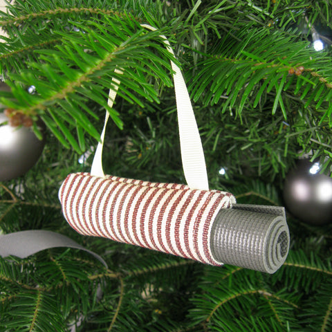Christmas Tree Ornament Yoga Mat Bag - Red Stripe