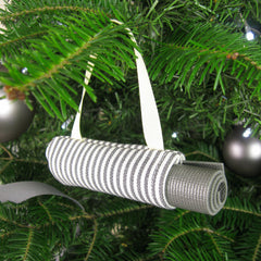 Ornaments - Yoga Christmas Ornament - Black Stripe - effie handmade