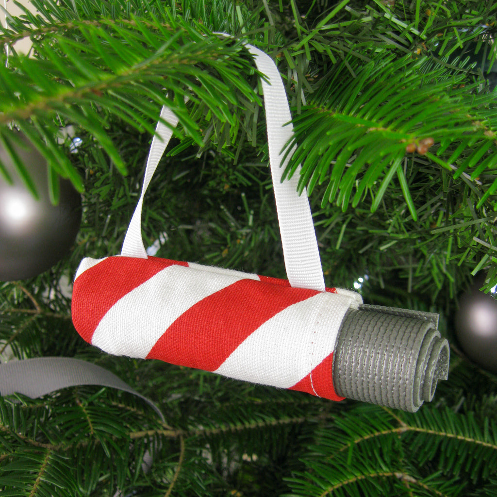 Ornaments - Yoga Ornament - Red Candy Stripe - effie handmade