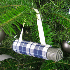 Ornaments - Christmas Tree Ornament Yoga Bag  - Navy Plaid - effie handmade