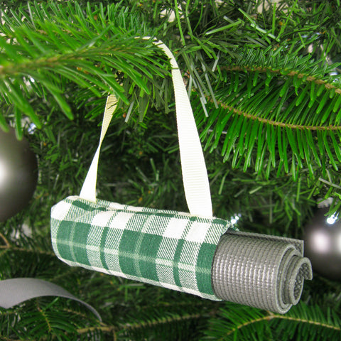 Yoga Christmas Ornament - Green Plaid