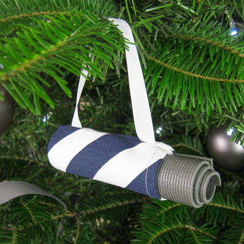Yoga Ornament - Navy Candy Stripe