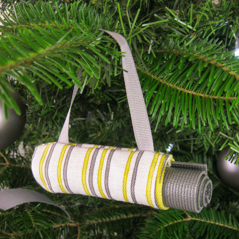 Yoga Christmas Tree Ornament - Yellow & Gray Stripe