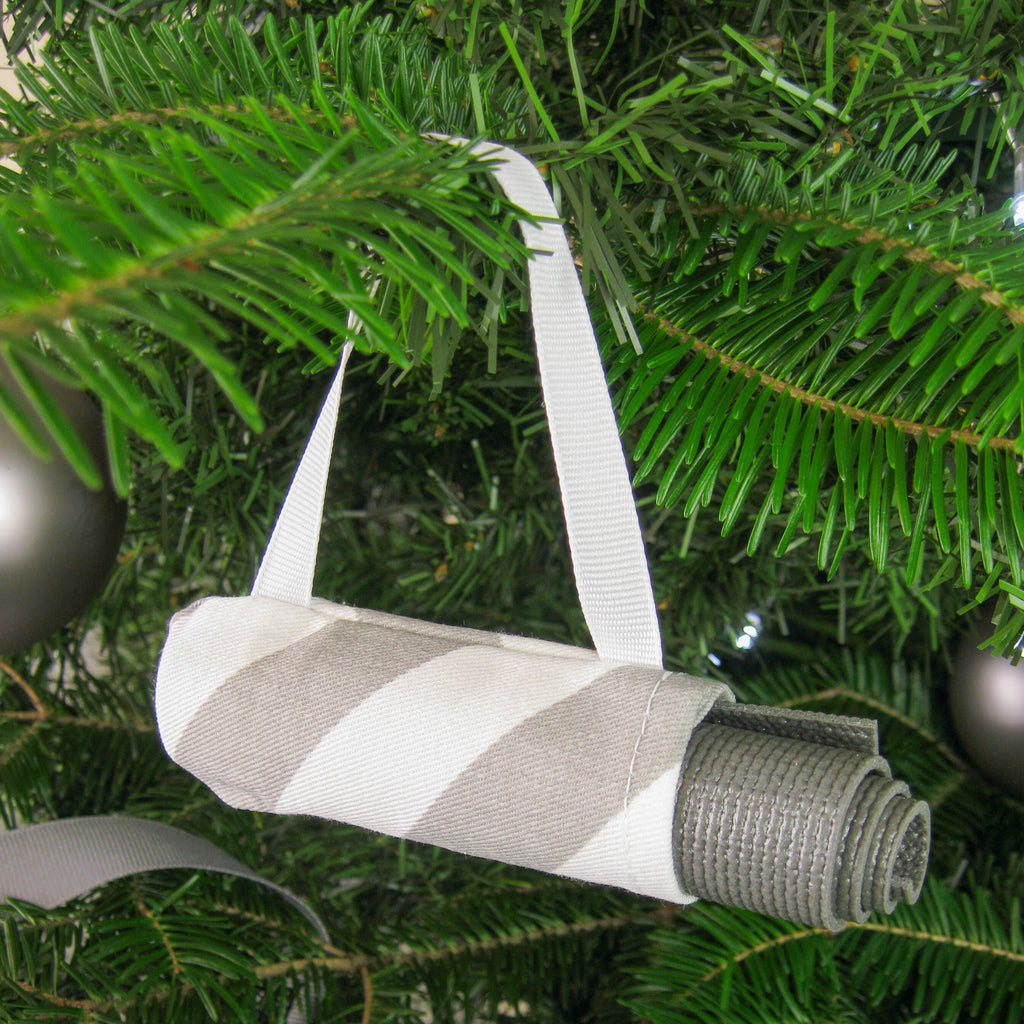 Ornaments - Yoga Ornament - Gray Candy Stripe - effie handmade
