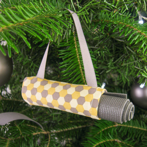 Yoga Christmas Ornament Stocking Stuffer  - Yellow and Grey Hexagon Confetti