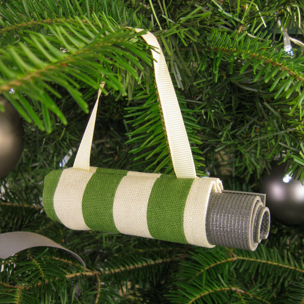 Ornaments - Yoga Christmas Ornament Stocking Stuffer  - Green Stripe - effie handmade