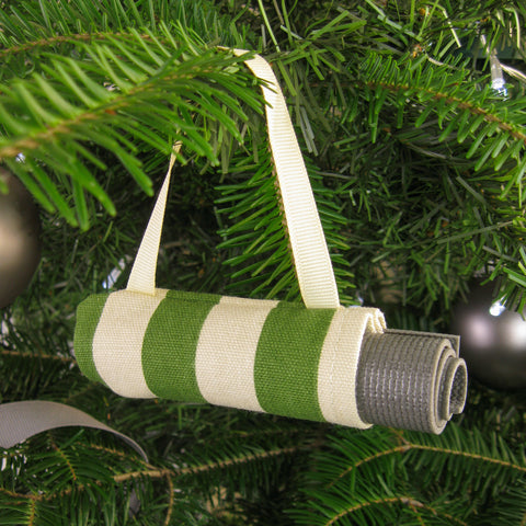 Yoga Christmas Ornament Stocking Stuffer  - Green Stripe