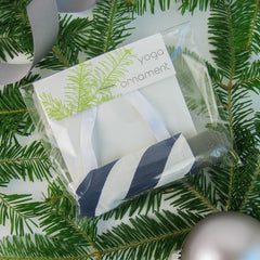 Ornaments - Yoga Ornament - Navy Candy Stripe - effie handmade