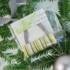 Ornaments - Yoga Christmas Tree Ornament - Yellow & Gray Stripe - effie handmade