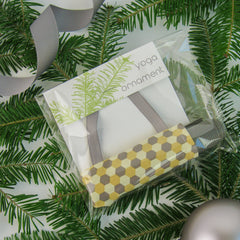Ornaments - Yoga Christmas Ornament Stocking Stuffer  - Yellow and Grey Hexagon Confetti - effie handmade