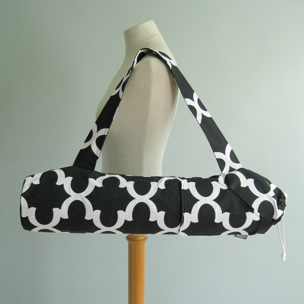 yoga mat bags - Yoga Mat Bag - Black and White - effie handmade
