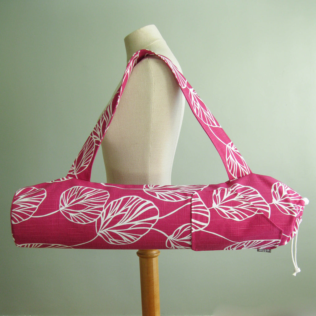 yoga mat bags - Yoga Mat Bag - Raspberry Pink Modern Leaves - effie handmade