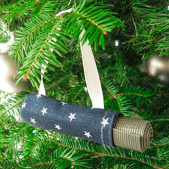 Ornaments - Yoga Ornament - Navy Stars - effie handmade