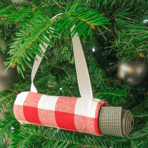 Yoga Christmas Ornament Stocking Stuffer  - Red Check