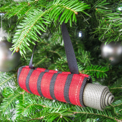 Yoga Christmas Ornament - Red and Navy Stripe