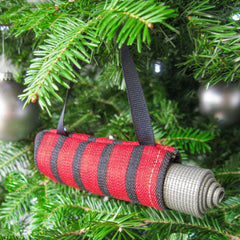 Ornaments - Yoga Christmas Ornament - Red and Navy Stripe - effie handmade
