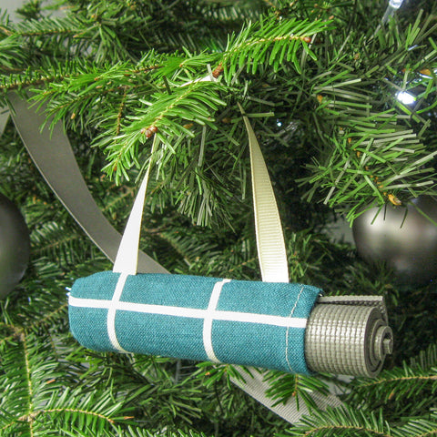 Christmas Ornament for Yoga Lover  - Teal Windowpane