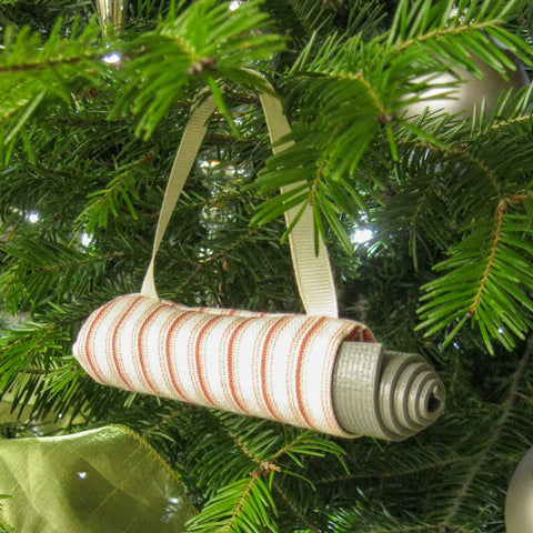 Yoga Ornament - Coral Ticking Stripe