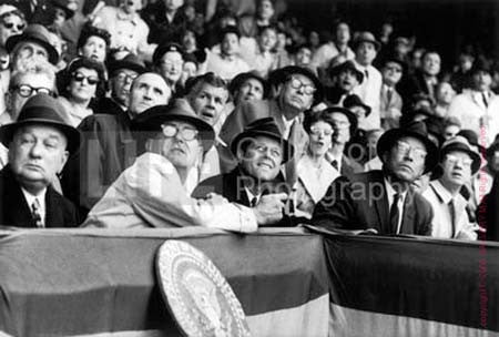 John F. Kennedy and Lyndon Johnson At Opening Day by Neil Leifer