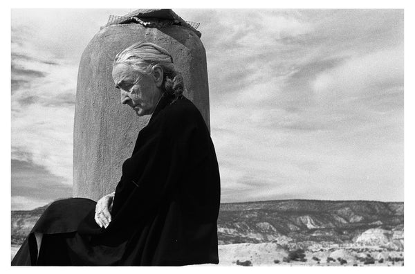 Georgia O'Keeffe on roof, Ghost Ranch by John Loengard