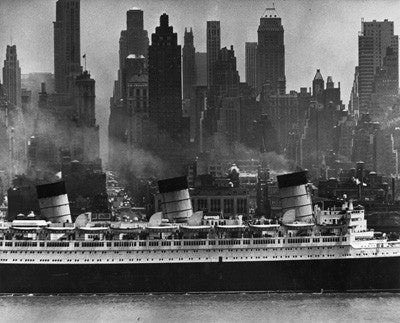 Ocean Liner The Queen Mary steaming down the Hudson River past 42nd Street by Andreas Feininger