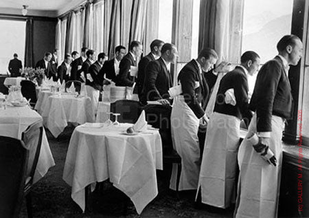 Waiters Watching Sonja Henie Skate by Alfred Eisenstaedt