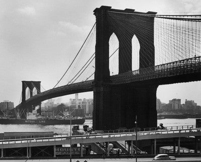 Mitsui Line ship passing under Brooklyn Bridge on the East River by Andreas Feininger