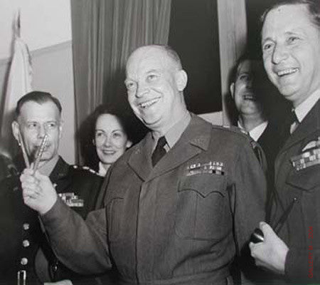 Eisenhower gives V at German Surrender by Ralph Morse