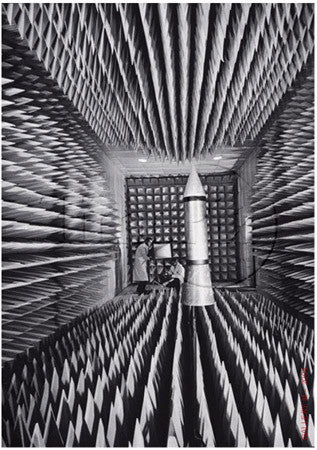 RADAR ECHOES ABSORBED IN ANACHOIC CHAMBER WITH ICBM MODEL by Ralph Morse