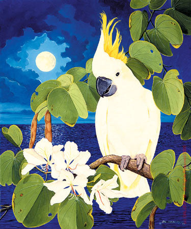 Cockatoo and Hong Kong Orchids by Sal Salinero