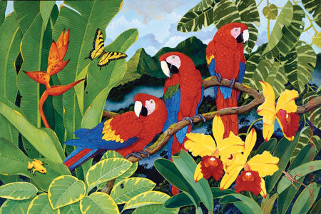 Mountain View with Scarlet Macaws by Sal Salinero