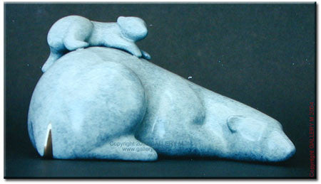 Polar Bear and Baby, Reclining by Loet Vanderveen
