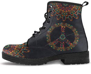 Colorful Peace and Mandala Handcrafted Boots