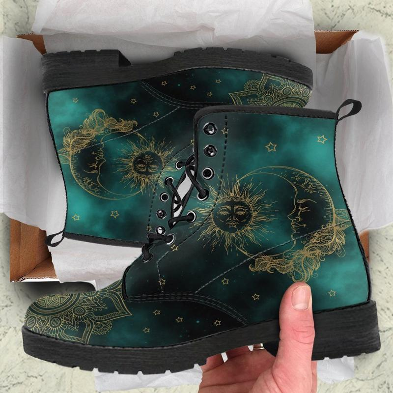 Green Sun and Moon Handcrafted Boots