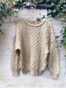 Vintage Hand Knitted Cable Knit Sweater Size M