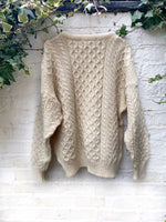 Load image into Gallery viewer, Vintage Hand Knitted Cable Knit Sweater Size M