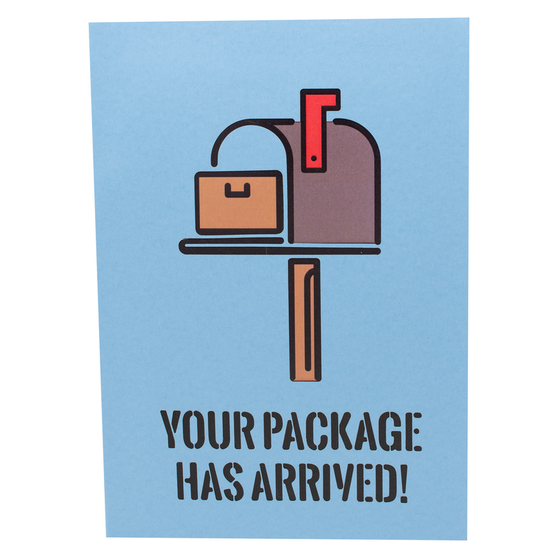 """Your Package Has Arrived"" on front cover of joke 3D greeting card."
