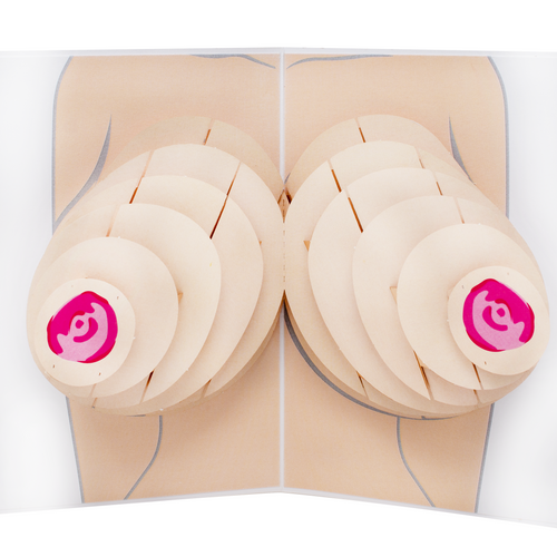 3D boobs inside an adult pop up greeting card.