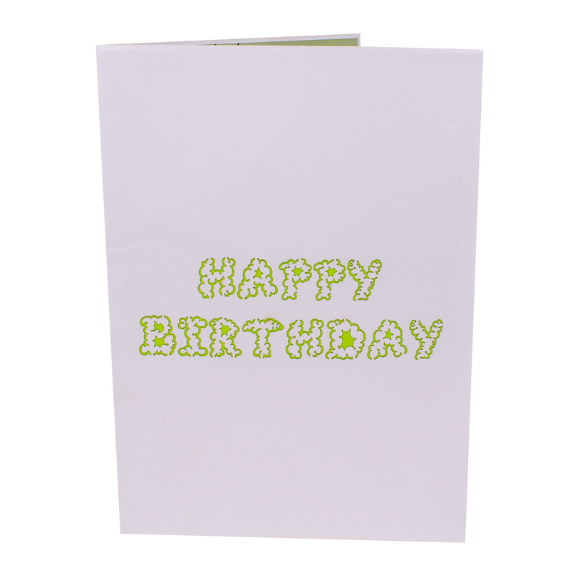 Happy Birthday printed on front cover of offensive Old Fart Birthday Card in funny font.